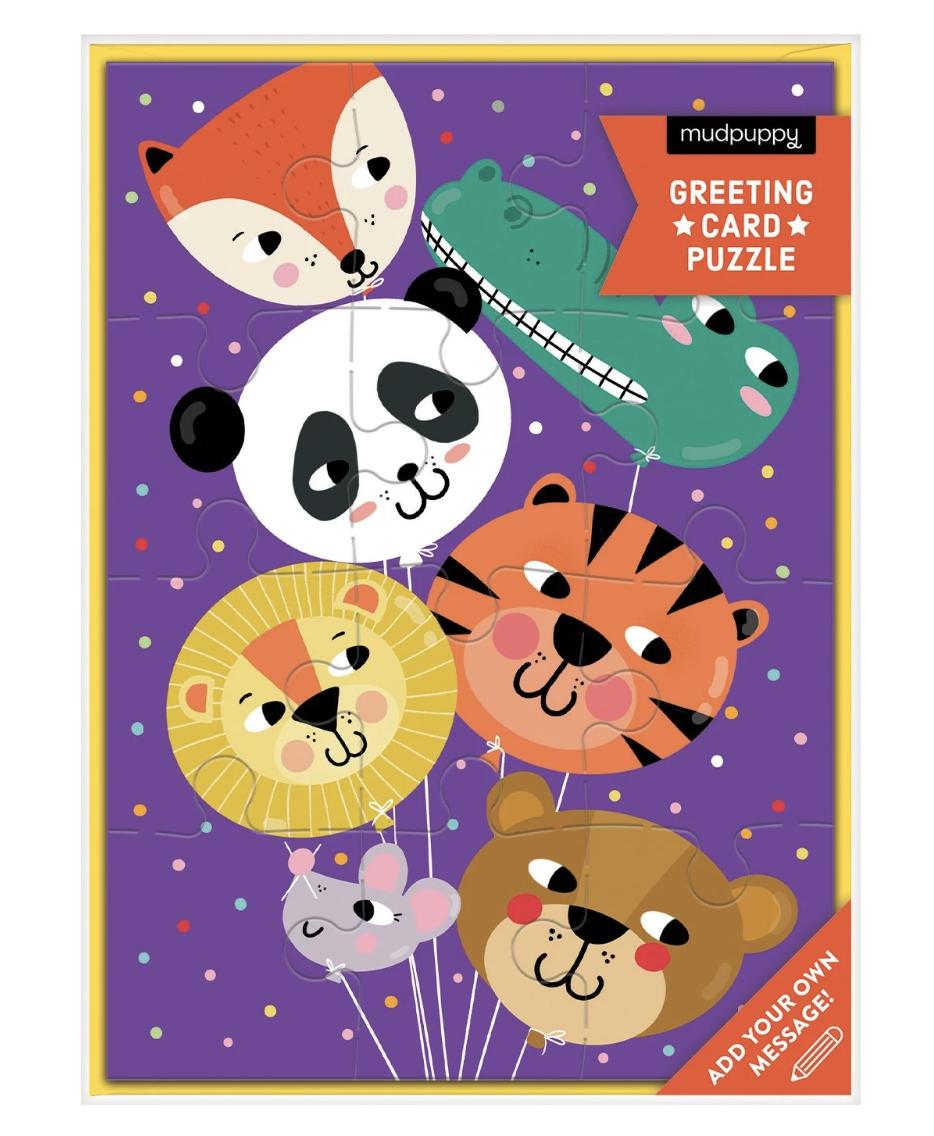 Animal Balloons Greeting Card Puzzle