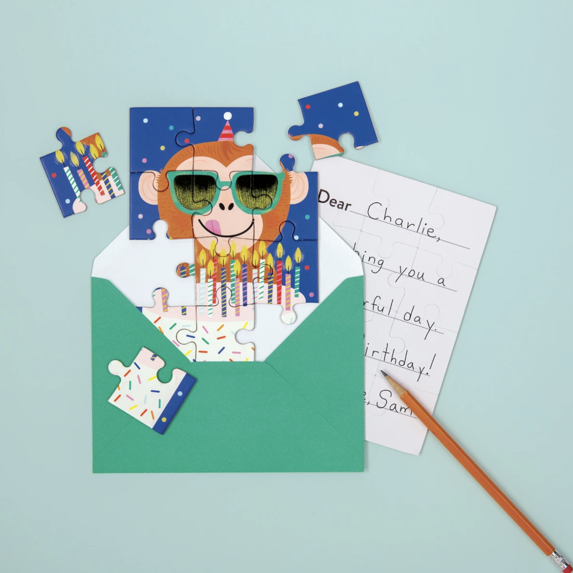 Monkey Cake Greeting Card Puzzle