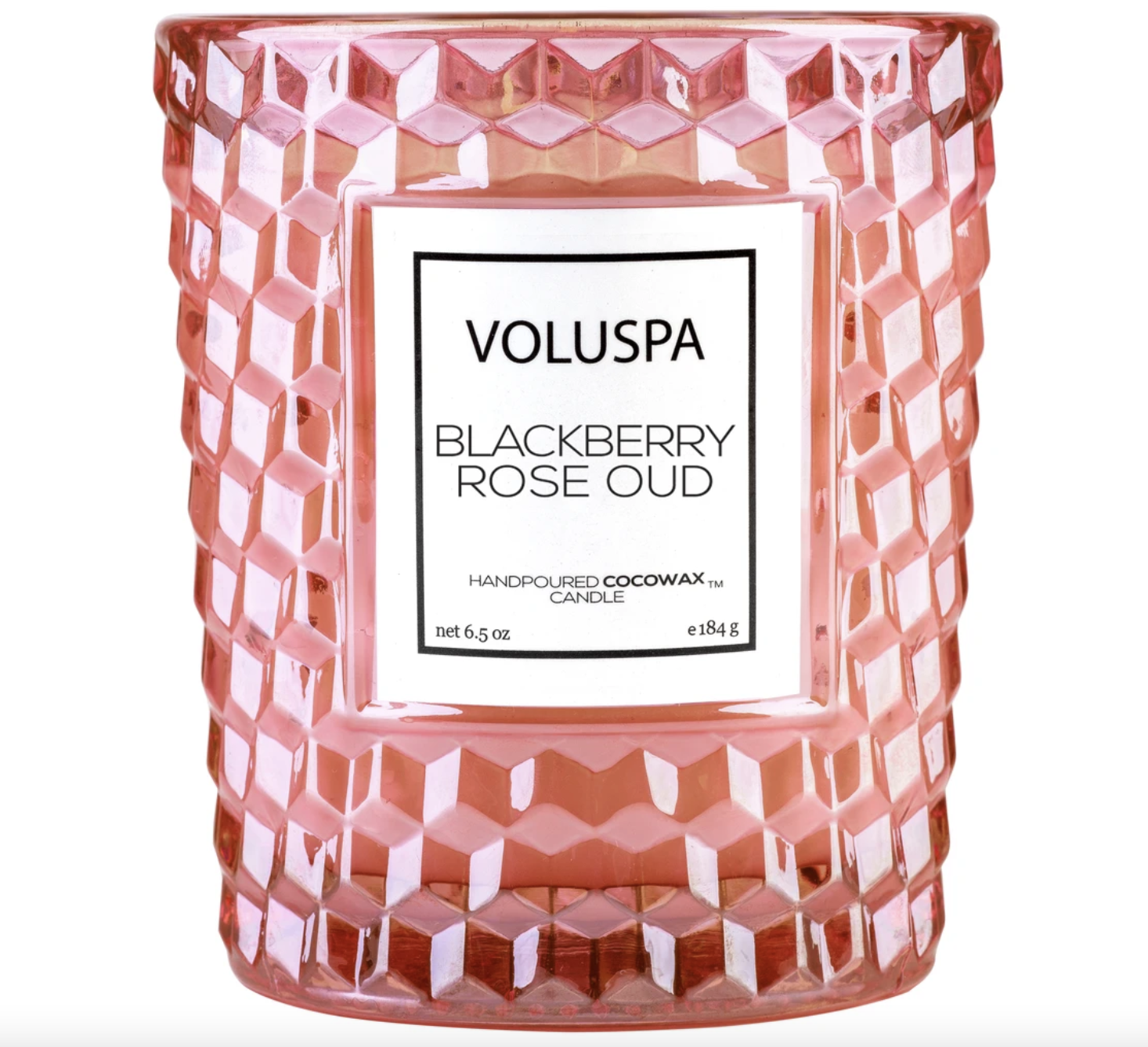 Voluspa Blackberry Rose Oud, Classic Glass Candle, Gift Boxed