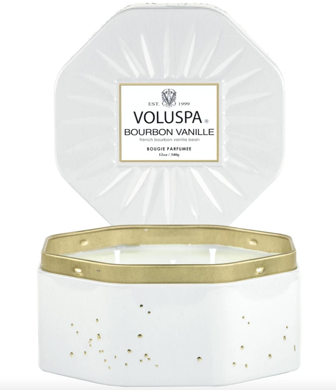 Voluspa Bourbon Vanille, Octagon Tin 3-Wick Candle
