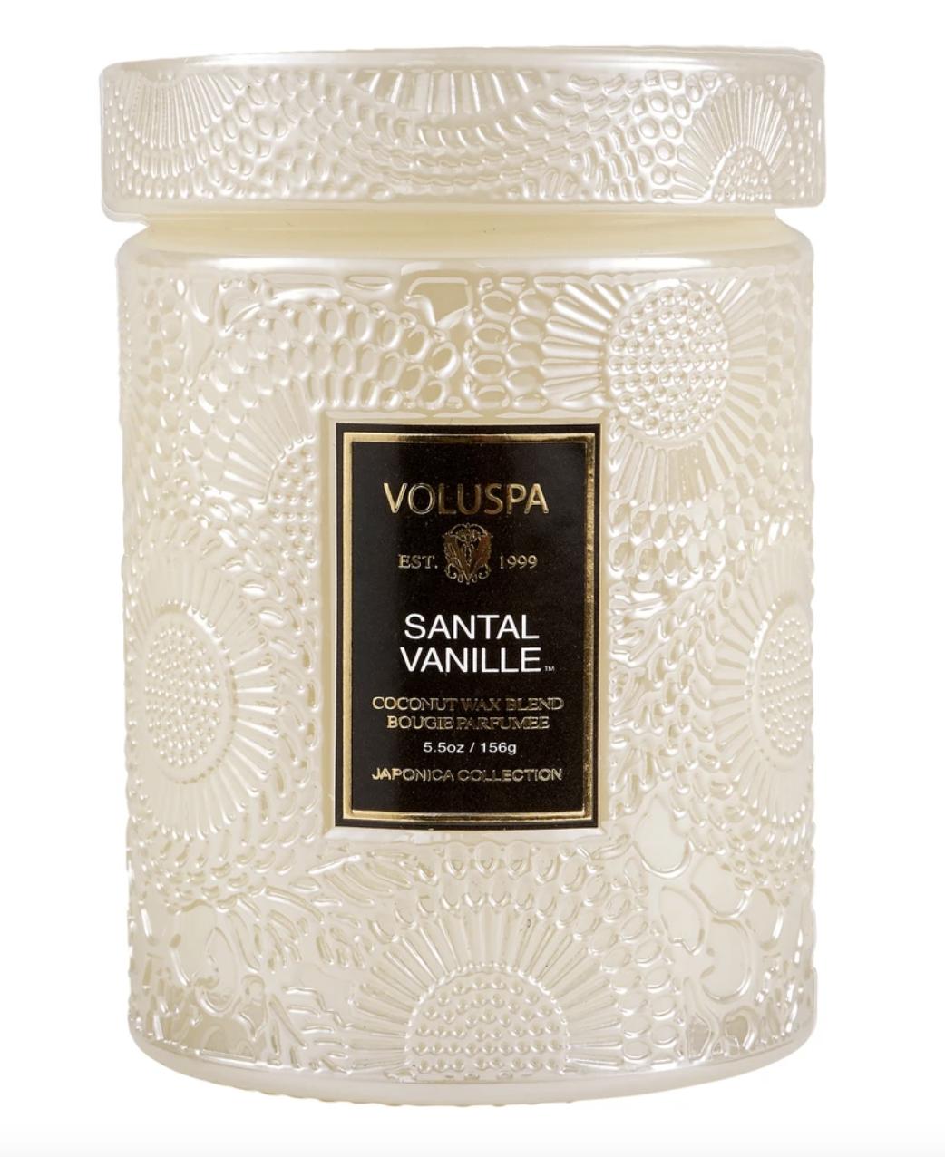 Voluspa Santal Vanille, Embossed Glass Jar with Lid