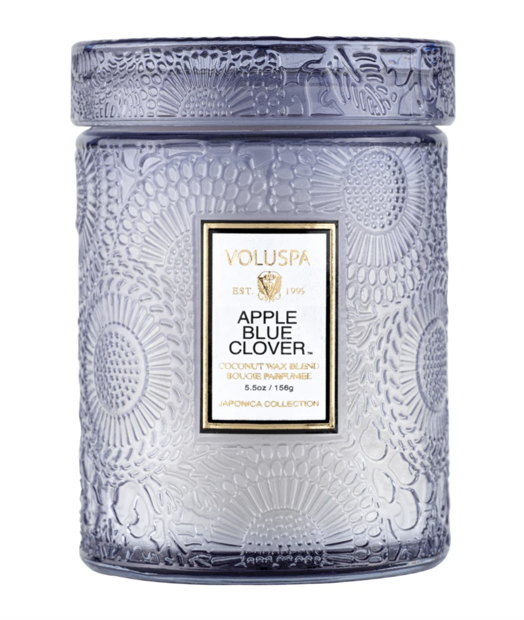 Voluspa Apple Blue Clover, Embossed Glass Jar with Lid