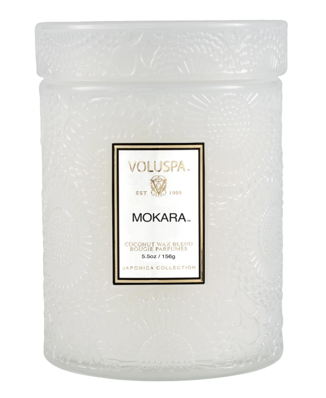 Voluspa Mokara, Embossed Glass Jar with Lid