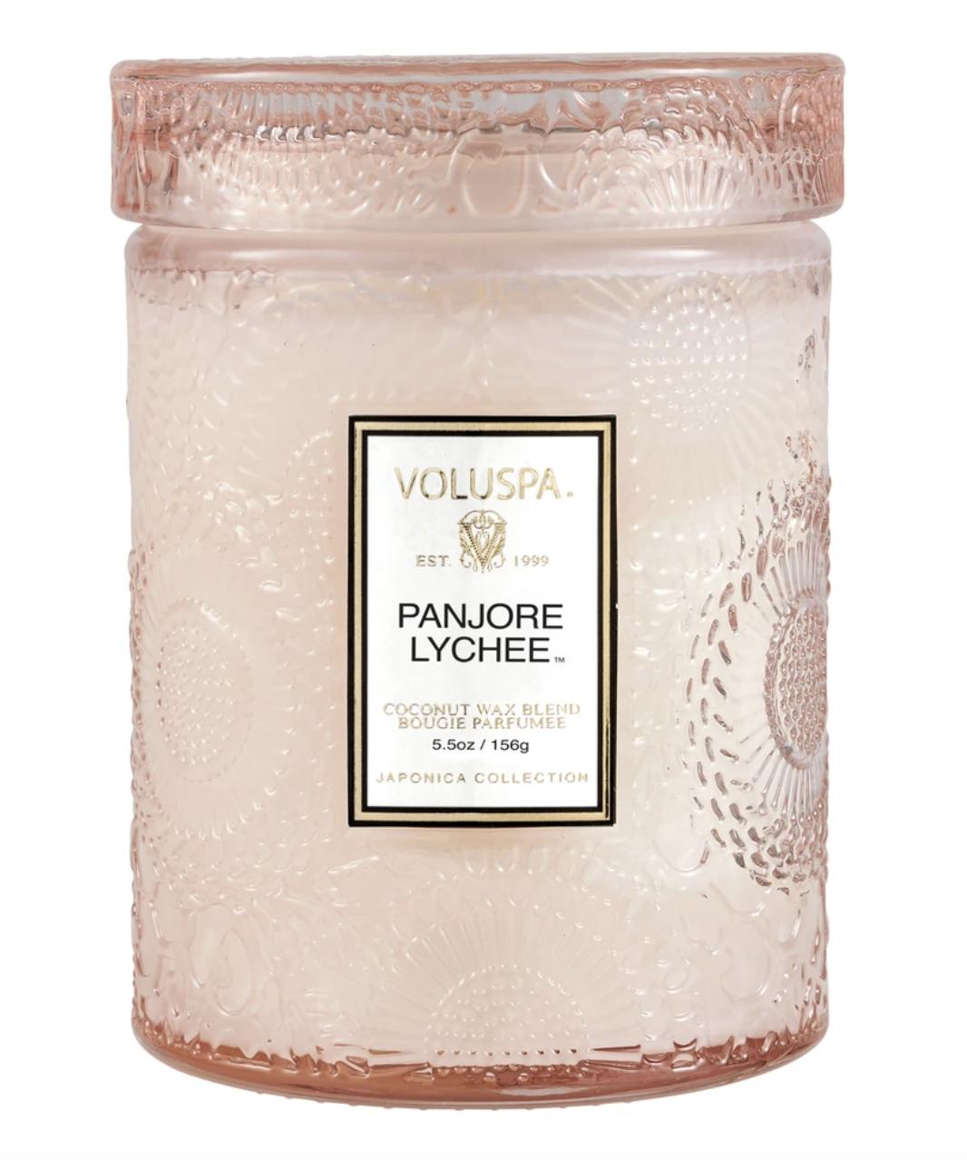 Voluspa Panjore Lychee, Embossed Glass Jar with Lid