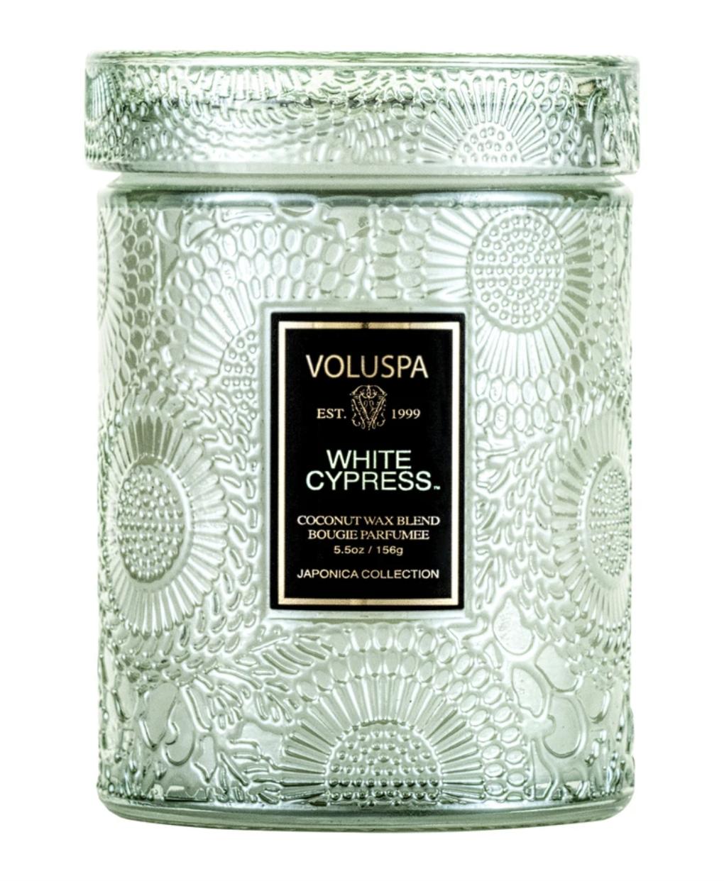 Voluspa White Cypress, Embossed Glass Jar with Lid