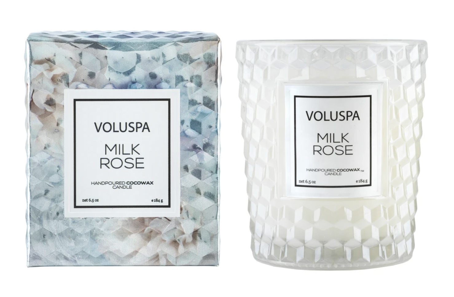 Voluspa Milk Rose, Class Glass Candle, Gift Boxed