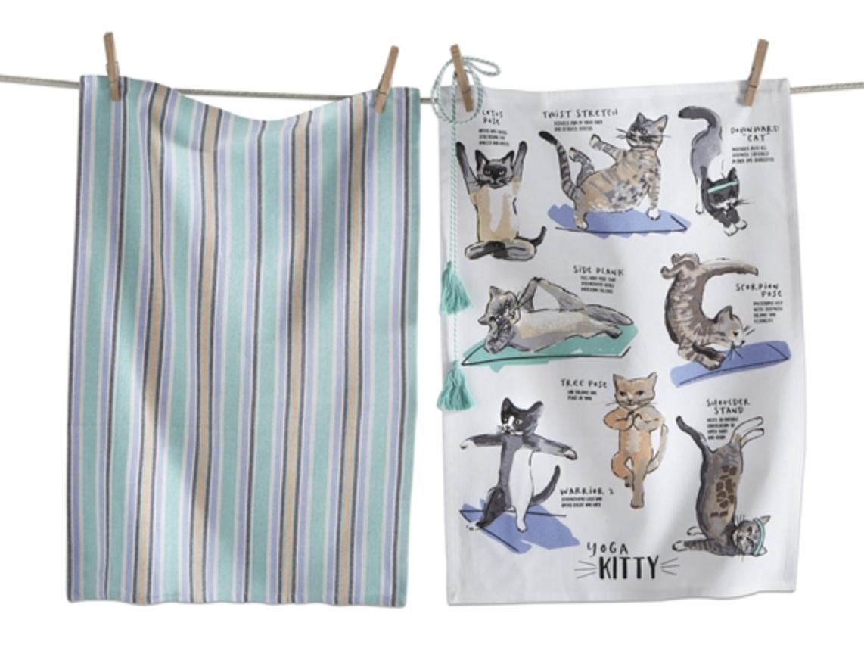 Cat Yoga Dish Towels, set/2