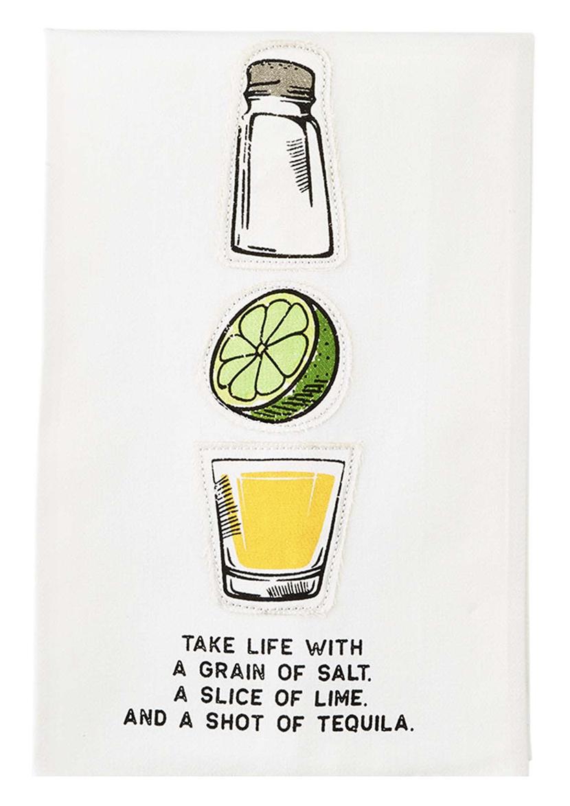 Salt, Lime, Tequila Appliquéd Tea Towel