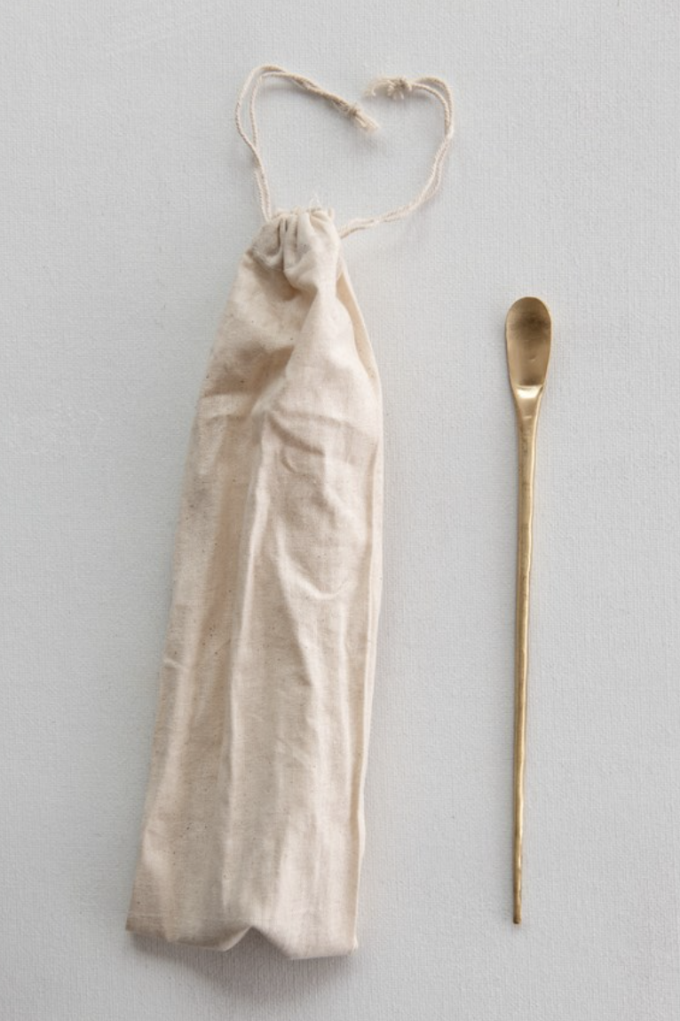 """Brass Cocktail Spoon, 9"""""""
