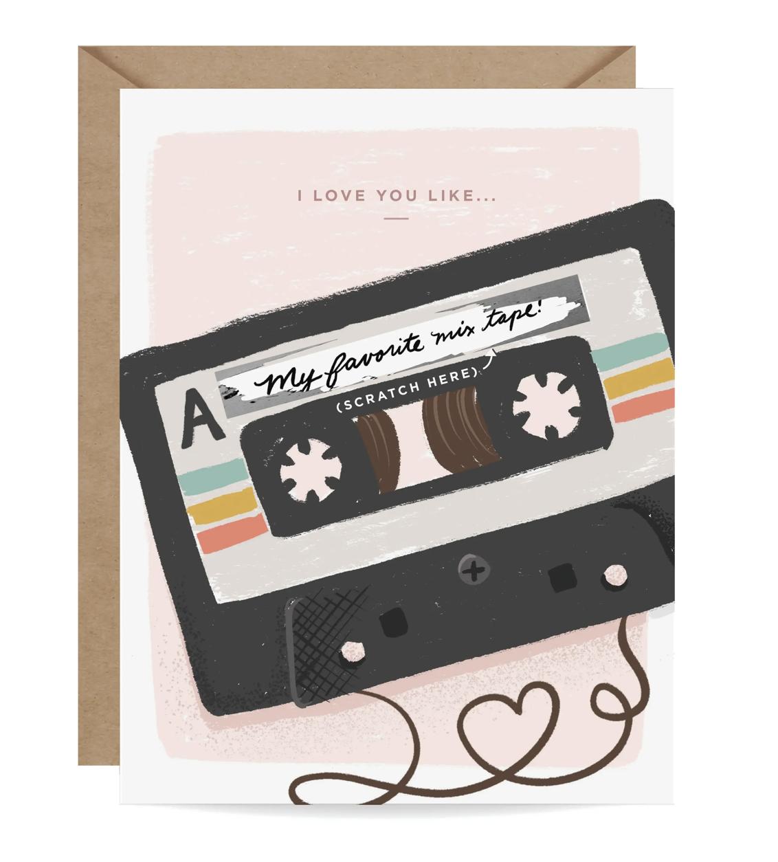 """Love You Like..."" Mixtape Scratch-Off Blank Greeting Card"