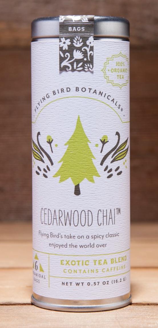 Flying Bird Botanicals: Cedarwood Chai, 6 or 15 bags