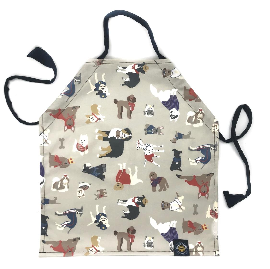 Splash Fabric Kid's Apron: Dogs (Grey)