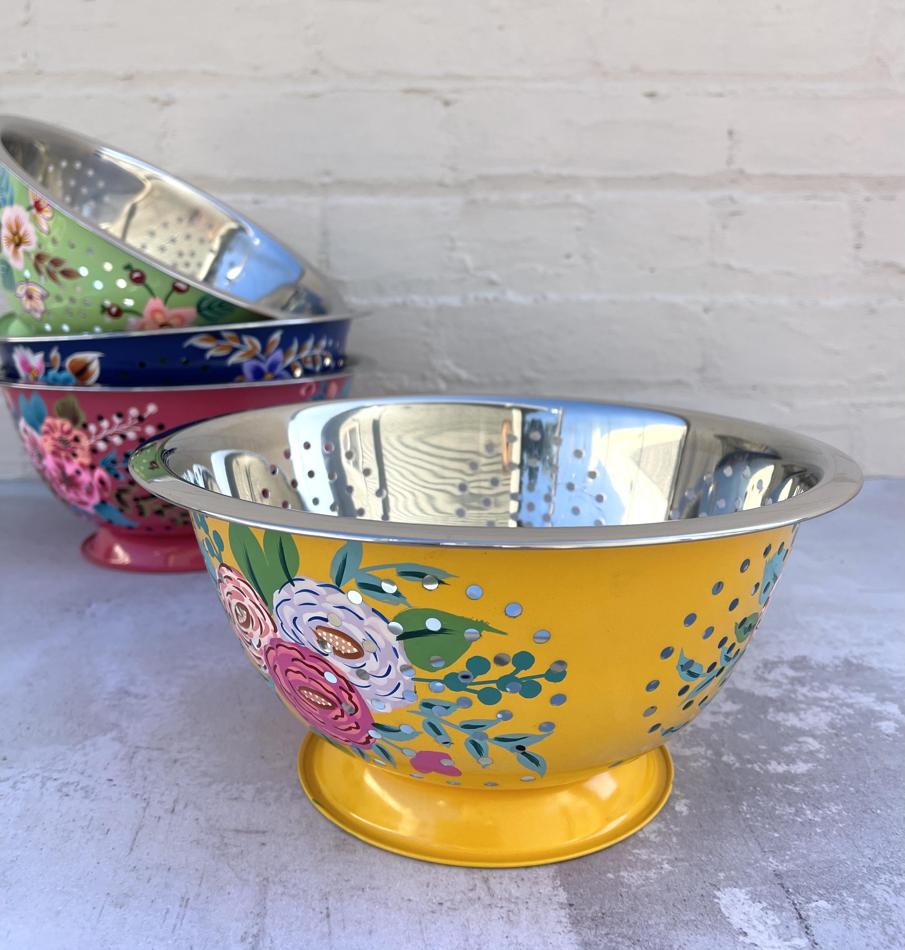 Handpainted Floral Colander, Stainless Steel: CHOOSE COLOR