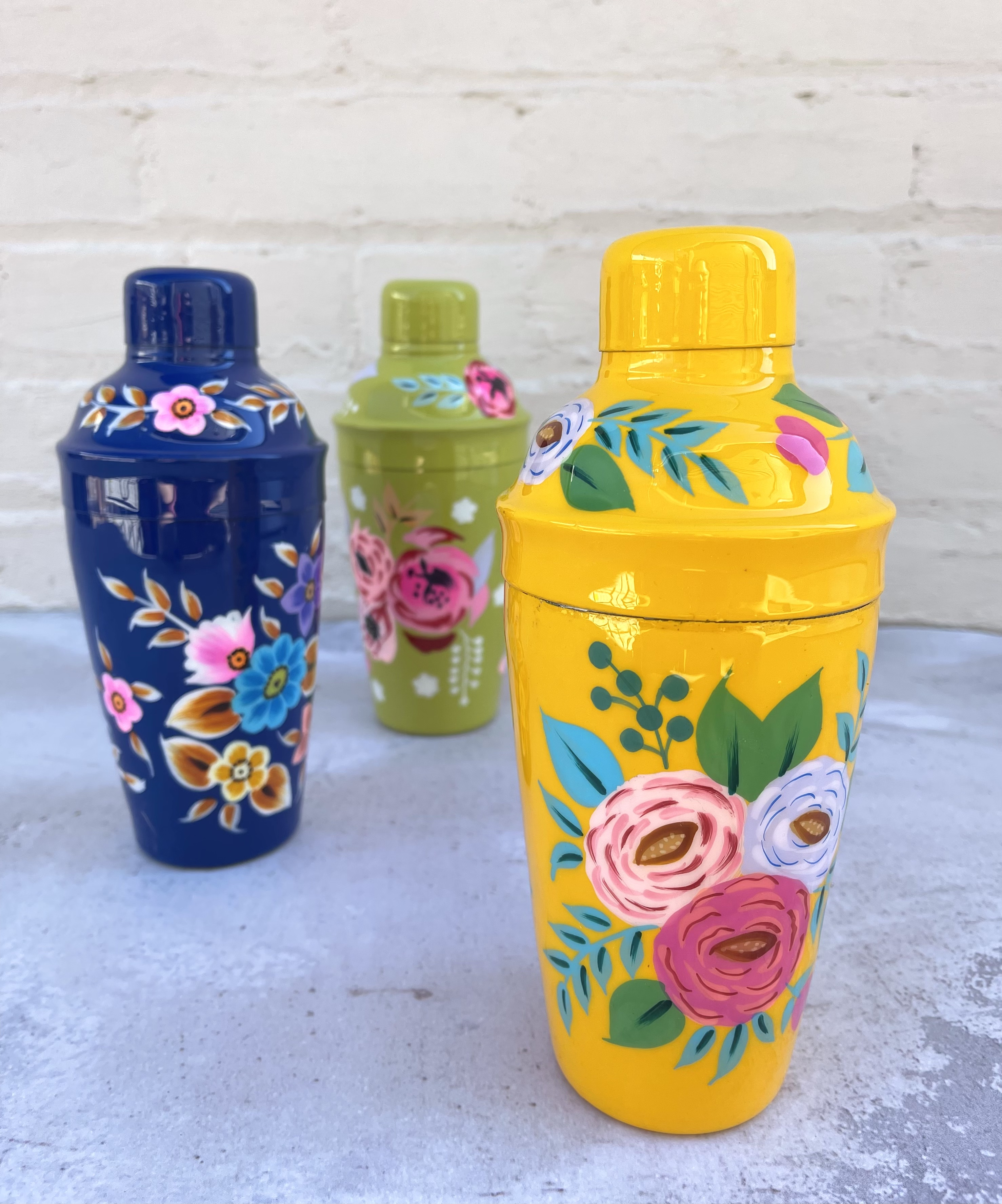 Handpainted Floral Cocktail Shaker, Stainless Steel--CHOOSE COLOR