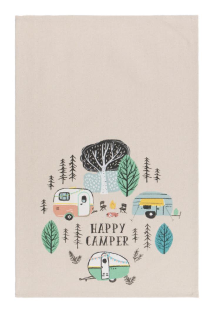 """""""Happy Camper,"""" Tea Towel"""