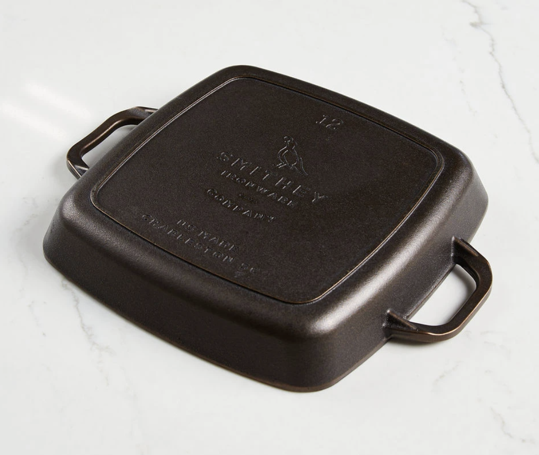 """Smithey 12"""" Cast Iron Grill Pan"""