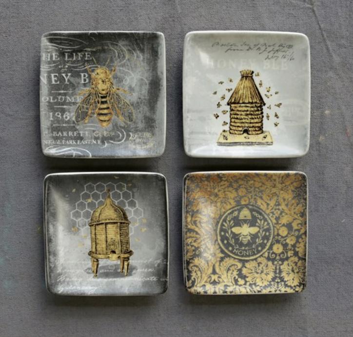 Square Stoneware Bee Hive Dish--CHOOSE DESIGN