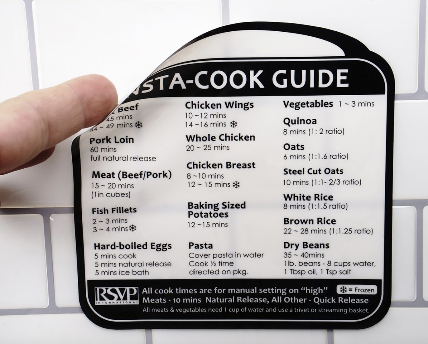 Removable Insta-Cook Guide Label