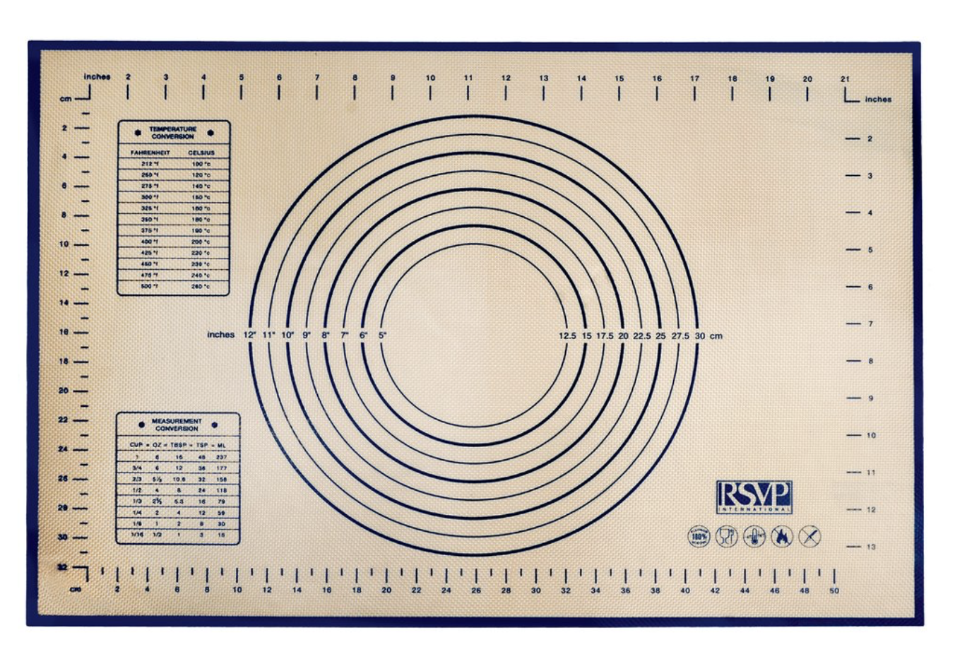 Silicone Pastry Mat with Measurements and Templates
