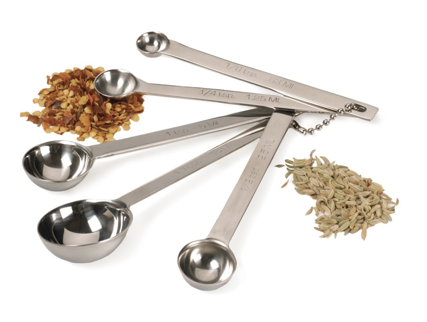 Measuring Spoons, Stainless Steel 5 pc