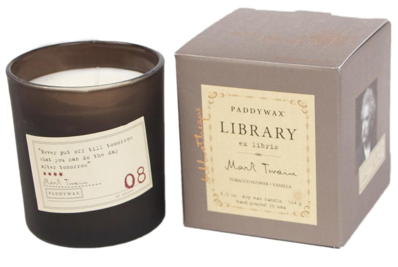 Paddywax Library Candle, Mark Twain, 6.5oz