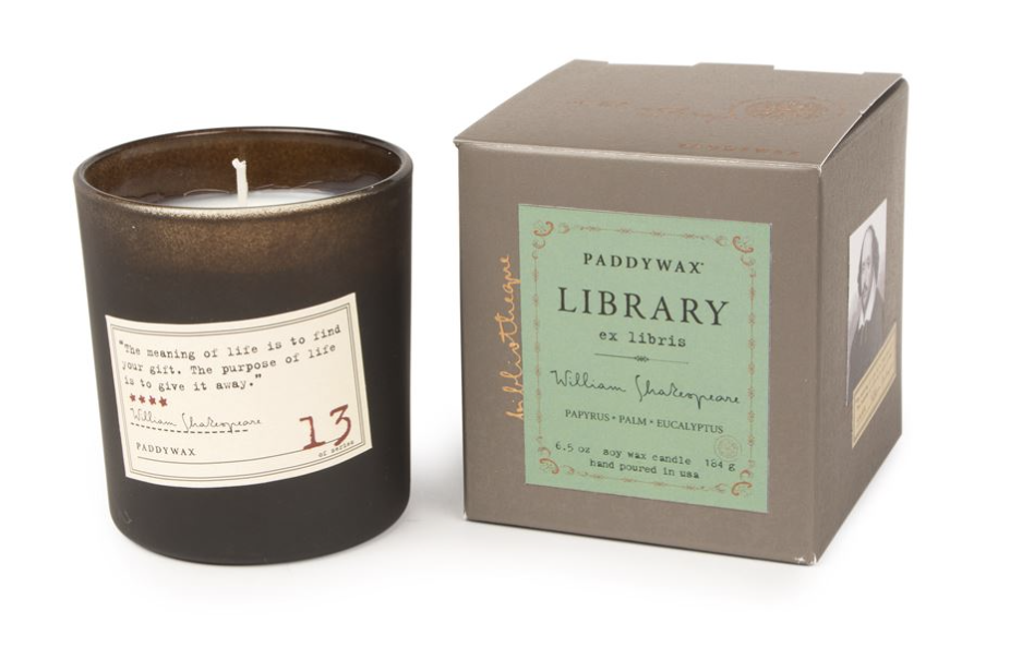 Paddywax Library Candle, William Shakespeare, 6.5oz