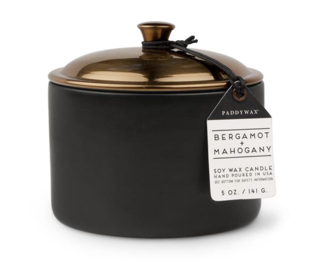 Paddywax Hygge, 5oz Ceramic Candle: Bergamot + Mahagony