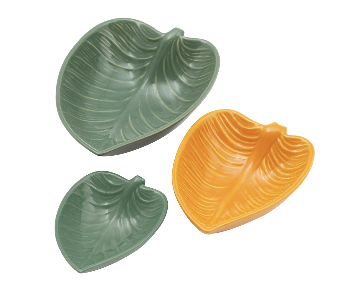 In the Forest Leaf Dishes, set/3