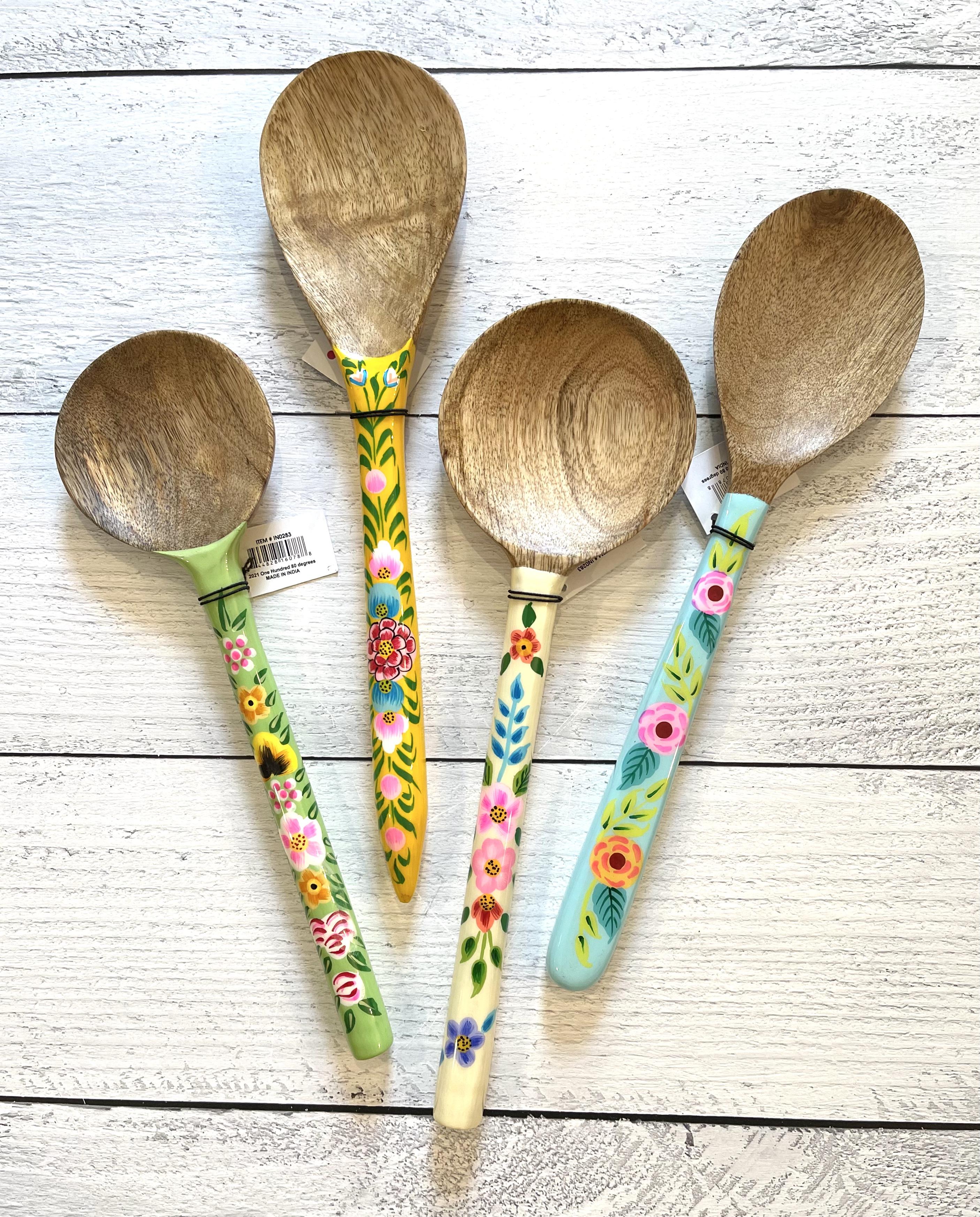 Handpainted Floral Wooden Spoons--CHOOSE COLOR/DESIGN