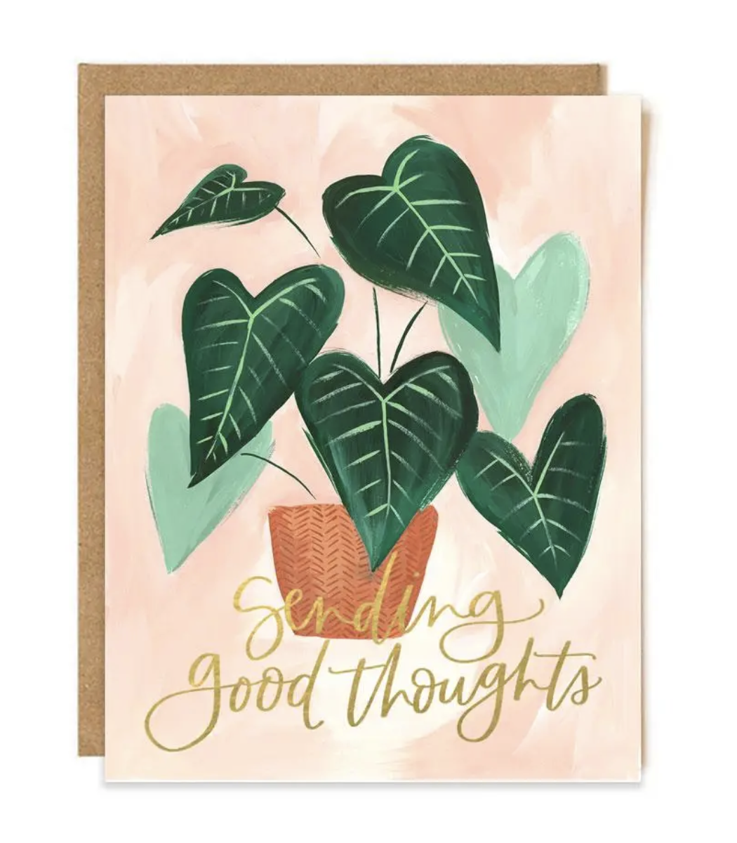 """""""Sending Good Thoughts"""" Plant Blank Greeting Card"""