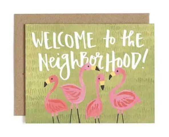 """Welcome to the Neighborhood,"" Flamingo Blank Greeting Card"