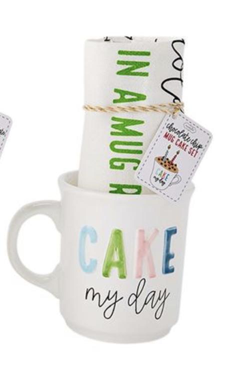 """Cake My Day"" Mug Cake Set, Mug + Tea Towel"