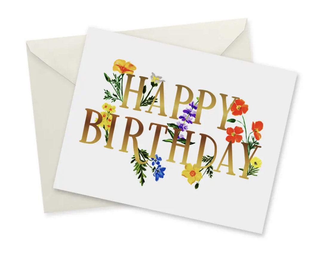 California Wildflower Birthday, Blank Greeting Card with Gold Foil