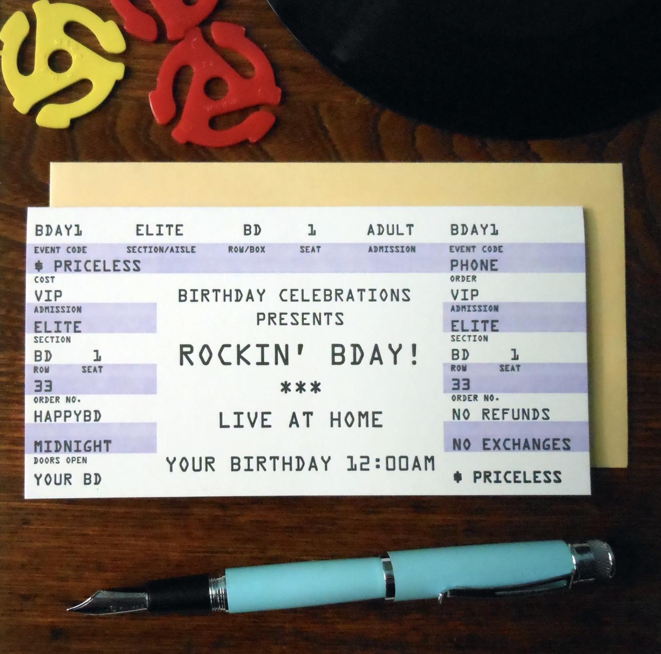 """Rockin' Birthday"" Concert Ticket, Blank Greeting Card"