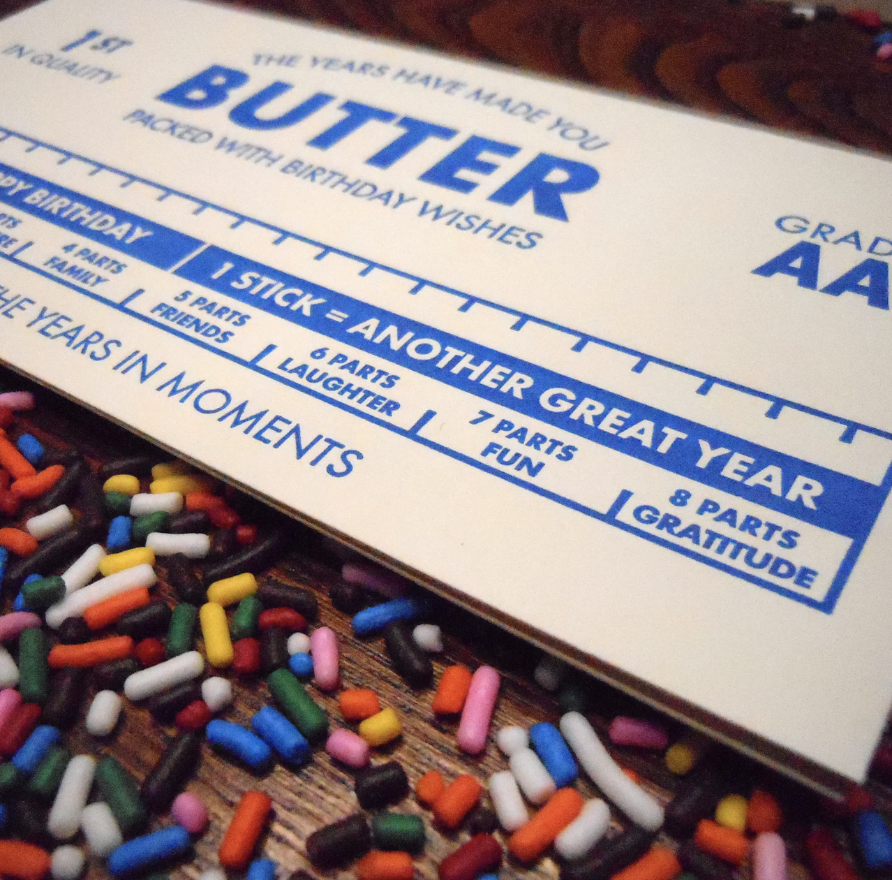 """""""The Years Have Made You Butter,"""" Blank Greeting Card"""