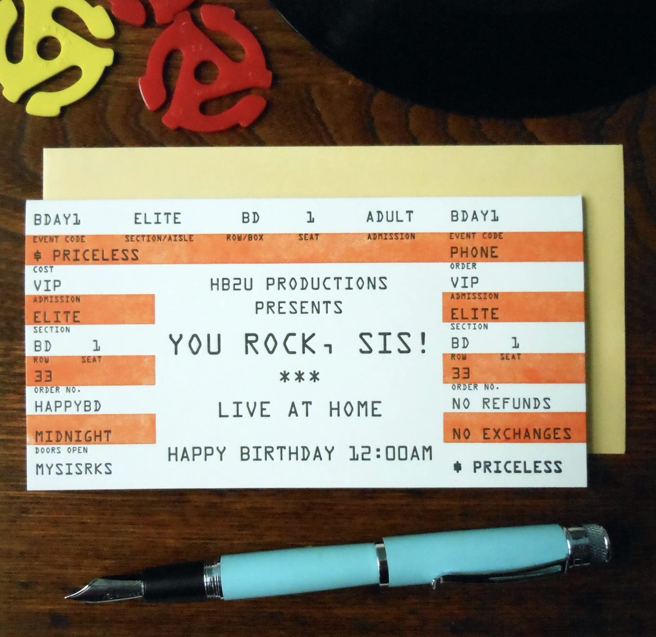 """""""You Rock Sis"""" Rock Concert Ticket, Blank Greeting Card"""