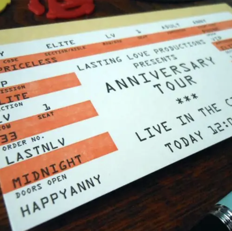 Anniversary Concert Ticket, Blank Greeting Card