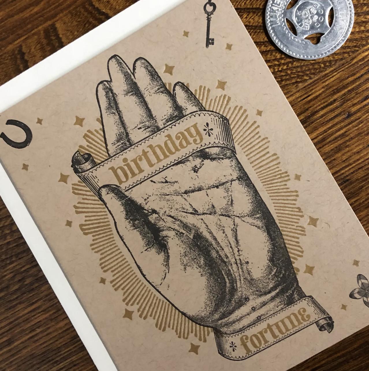 Birthday Palm Fortune, Blank Greeting Card
