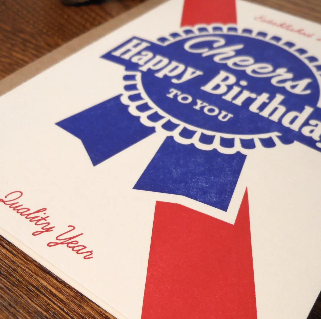 Blue Ribbon Birthday, Blank Greeting Card