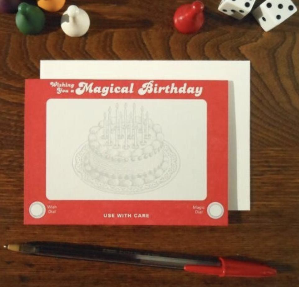 Etch-a-Sketch Birthday, Blank Greeting Card