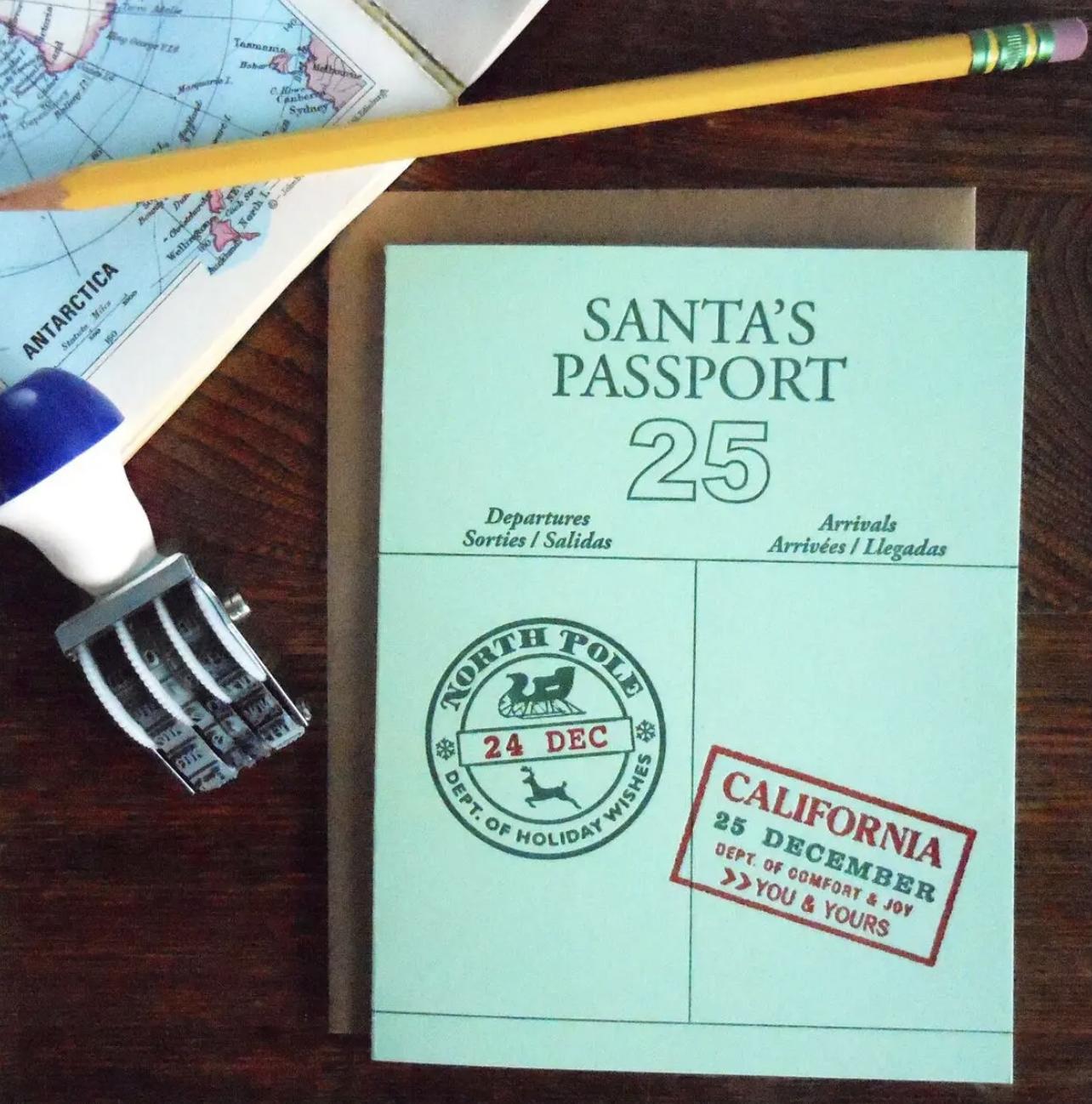 Santa's Passport: California, Blank Greeting Card