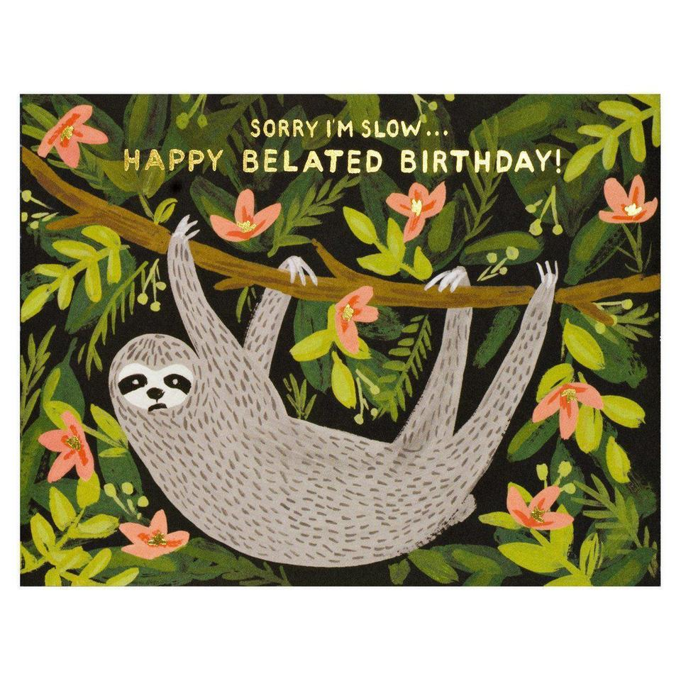 Belated Birthday Sloth, Rifle Paper Co. Blank Greeting Card