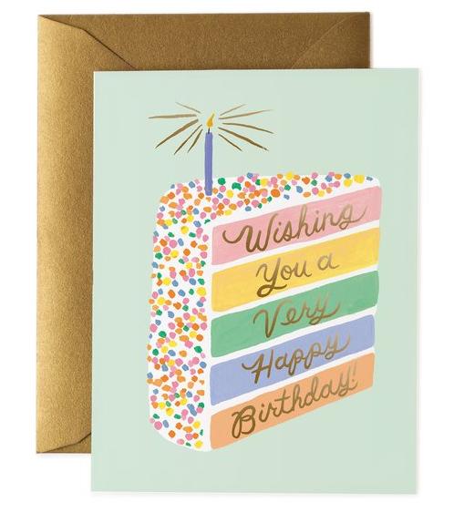Happy Birthday Cake Slice, Rifle Paper Co. Blank Greeting Card