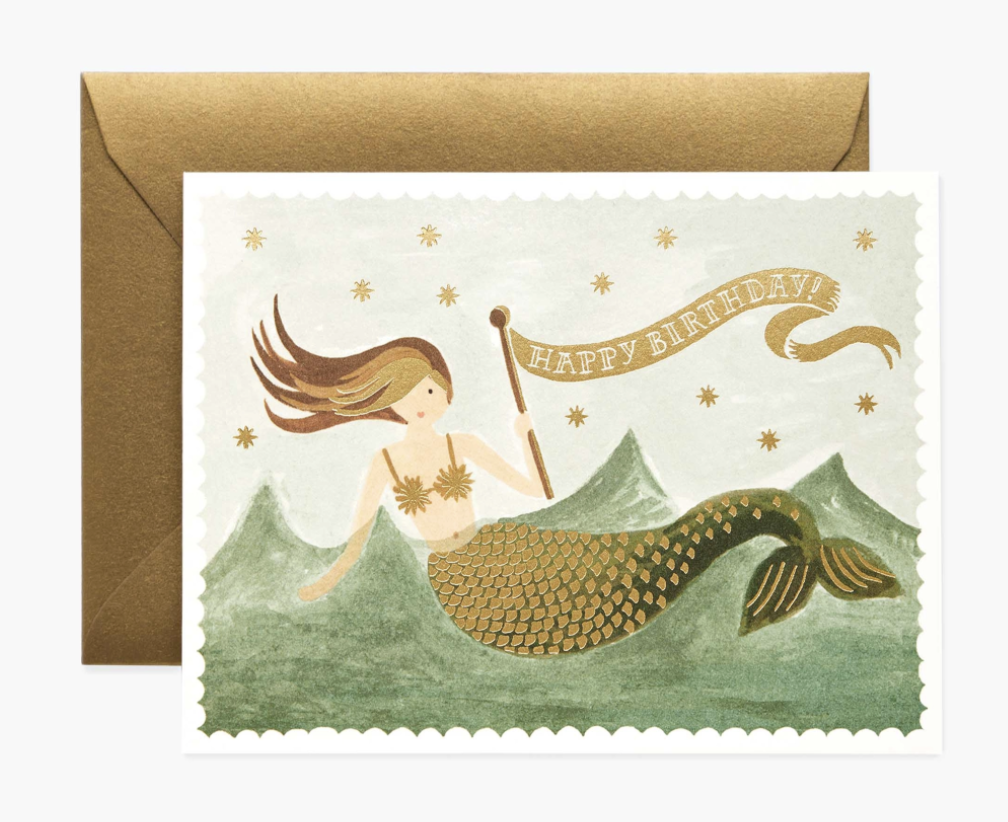 Happy Birthday Mermaid, Rifle Paper Blank Greeting Card