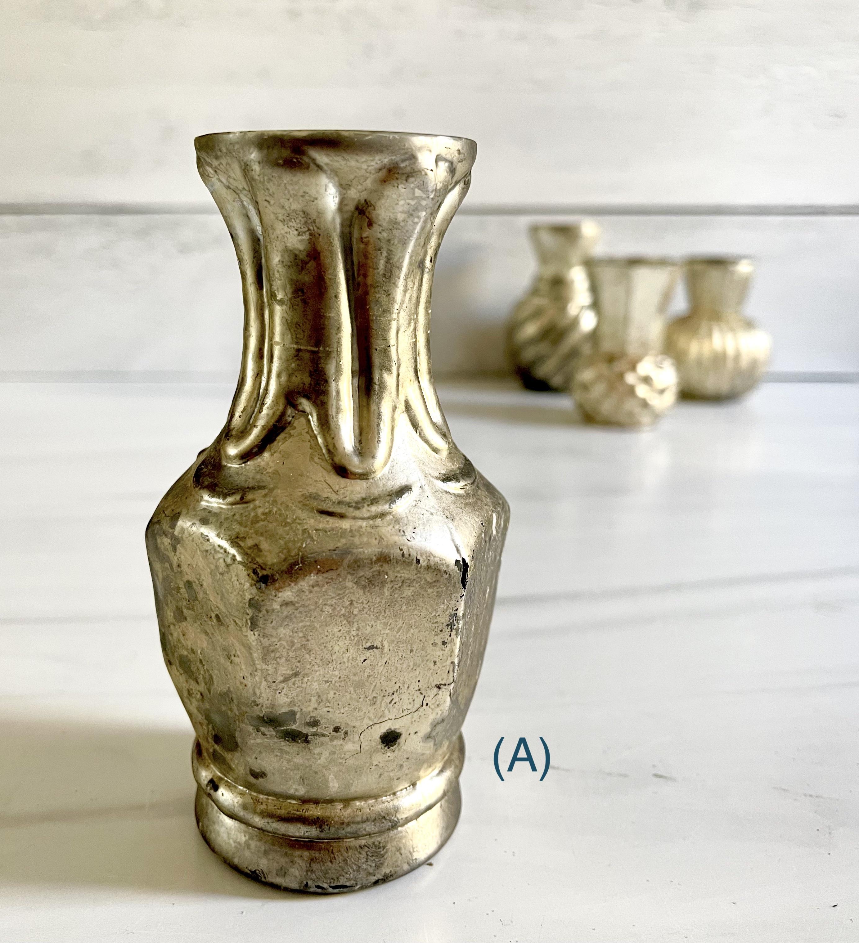 Mercury Glass Bud Vases--CHOOSE DESIGN