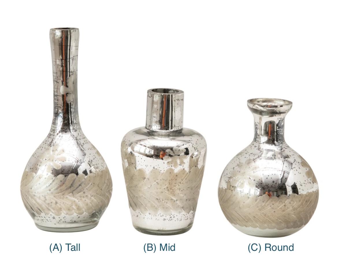 Mercury Glass Bud Vases with Floral Motif--CHOOSE DESIGN