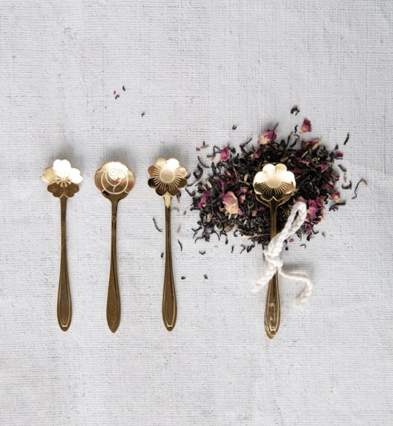Gold Toned Stainless Steel Flower Spoons, set/3