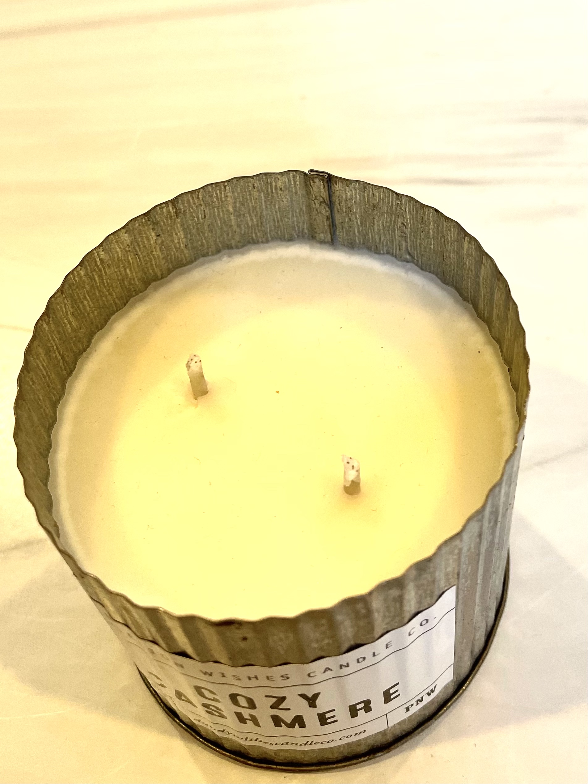 Cozy Cashmere, Rustic Galvanized Tin Candle, 12oz