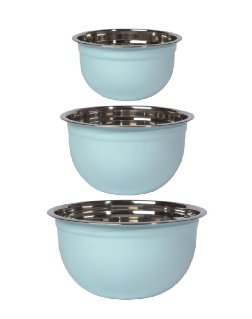 Stainless Steel Nesting Bowls, set/3--CHOOSE COLOR
