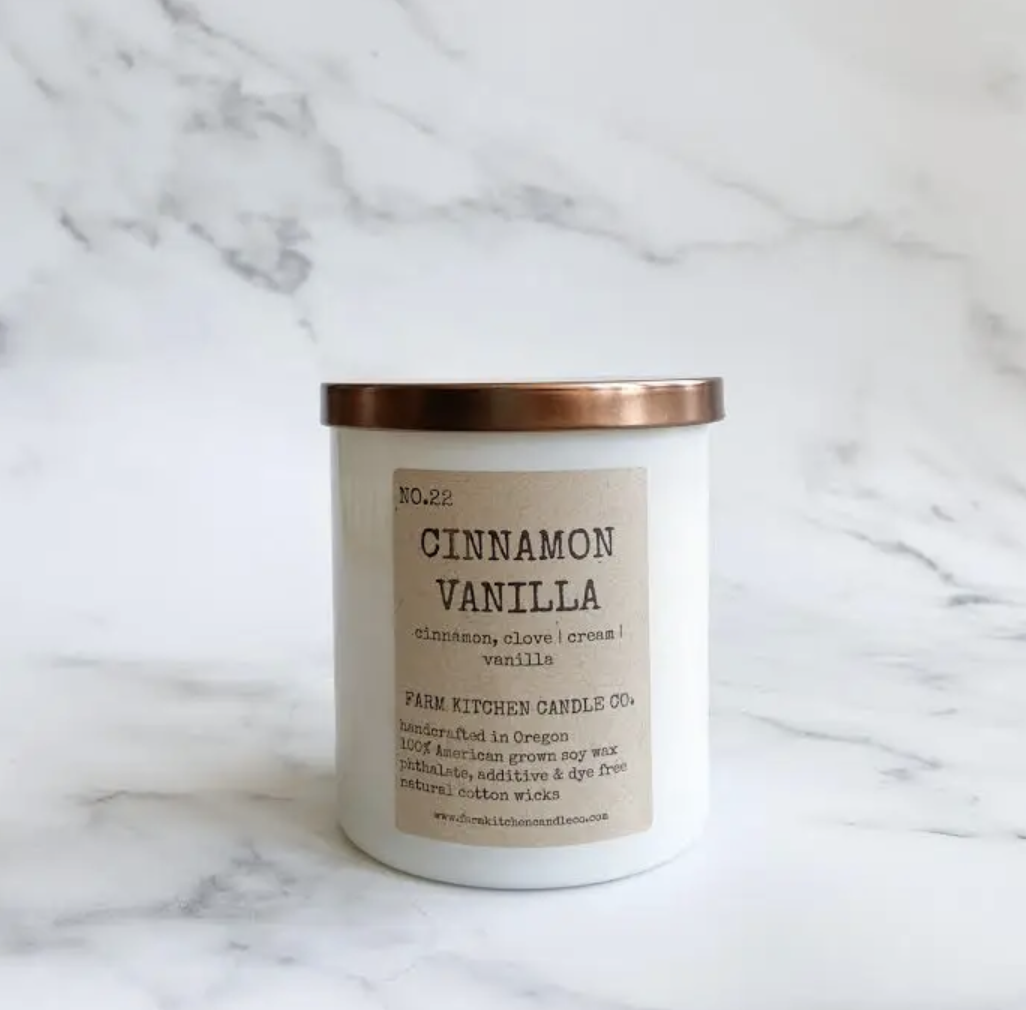 Cinnamon Vanilla Soy Wax Candle, 11oz